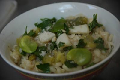 recette - risotto aux féves et calamars