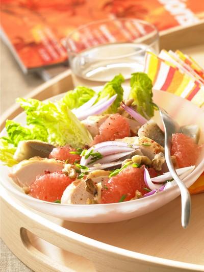 recette - salade de poulet au pamplemousses de floride