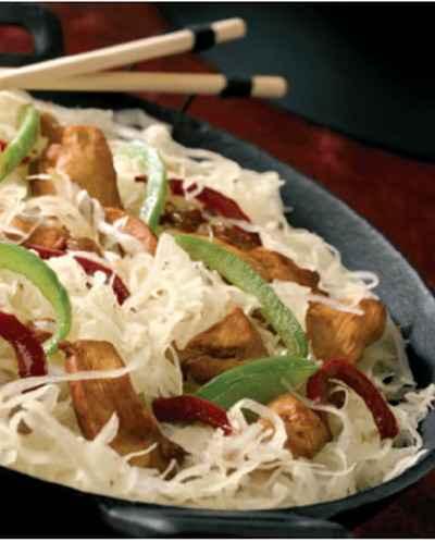 recette - sauté de volaille et choucroute façon wok