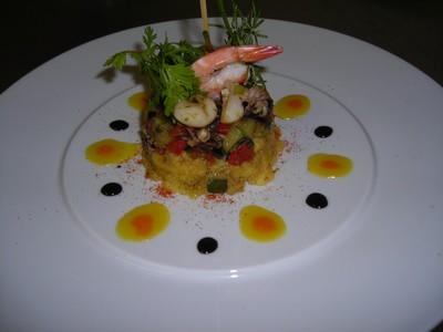 recette - sèches crevettes plancha à la polenta aux courgettes