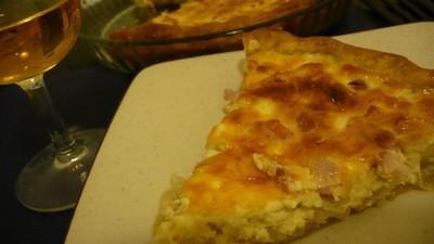 recette - tarte aux lardons et fondue d'oignon