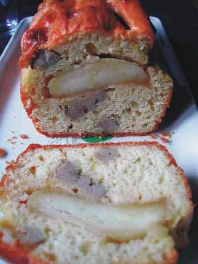 recette - cake au foie gras et pommes caramélisées