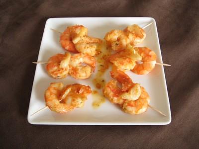 recette - crevettes à l'ail et à l'huile d'olive