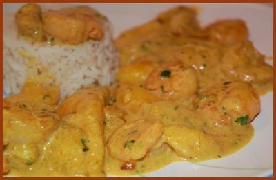 recette - curry de crevettes à la mangue