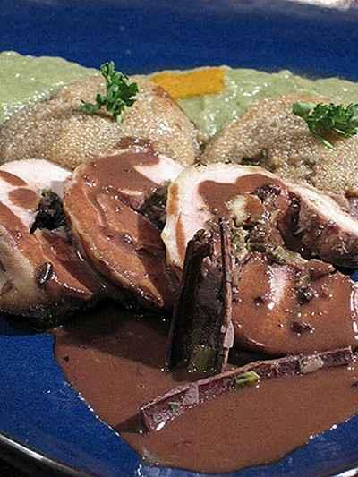 recette - dinde épicée au foie gras, campari et chocolat