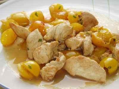 recette - emincés de poulet aux mirabelles