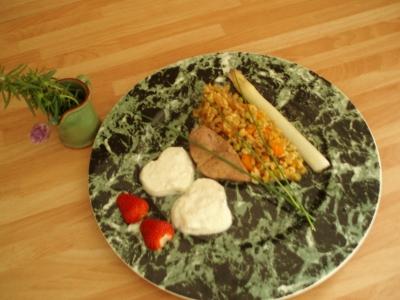 recette - foie de veau sauce fine roquefort papillon, risotto d'épeautre