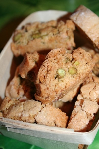 recette - minis biscottis au lime et au pistaches