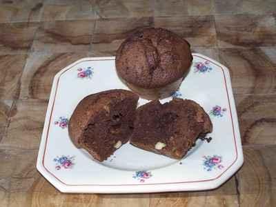 recette - muffins au chocolat et aux noix