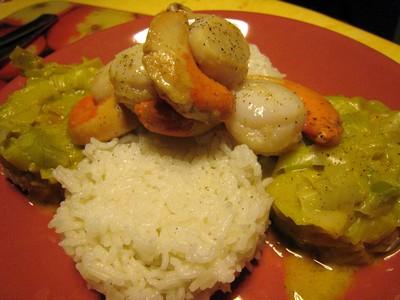 recette - noix de st jacques, fondue de poireaux au curry