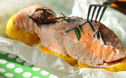 recette - papillote de saumon au butternut et romarin