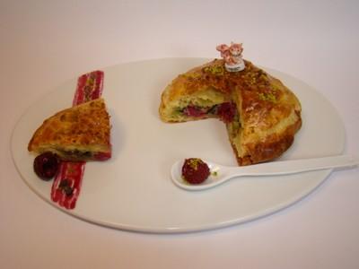 recette - petite galette framboise pistache et grué de cacao