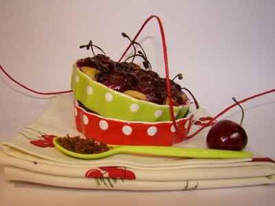 recette - petits clafoutis aux cerises sucre muscovado et sirop d'hibiscuc
