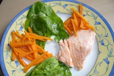 recette - saumon aux deux légumes
