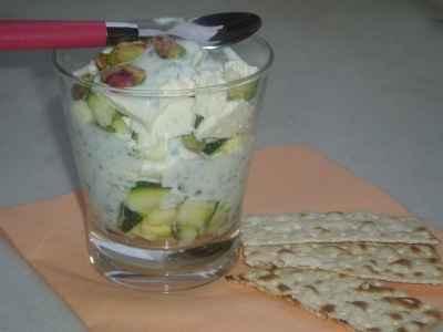 recette - verrine de courgettes au fromage blanc et pistaches