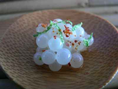 recette - caviar d'escargot, huile de gingembre
