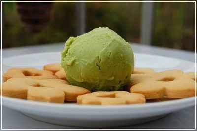 recette - crème glacée aux petits pois et à l'amande