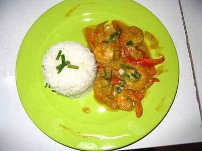 recette - crevettes sautées soja et coco