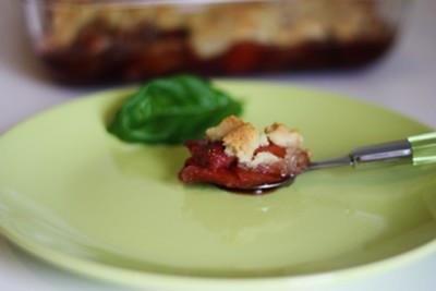 recette - crumble de tomate et fraise