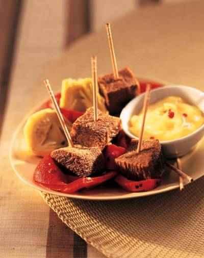 recette - cubes de langue de boeuf, sauce aïoli