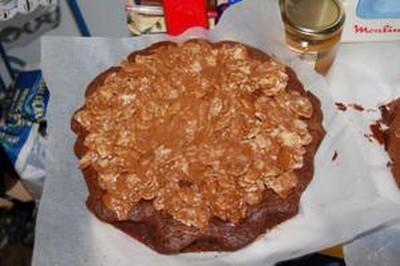 recette - gateau au chocolat et son nappage corn flakes/mars