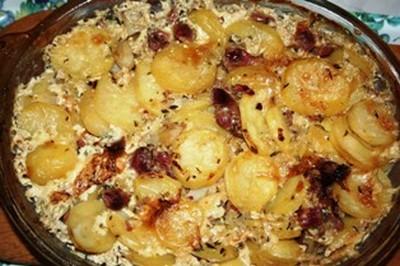 recette - gratin de pommes de terre aux gésiers confits