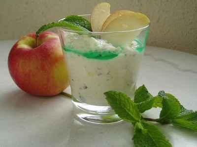 recette - mousse aux pommes à la menthe fraîche