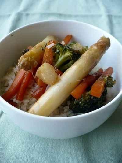 recette - riz sauté aux légumes de printemps