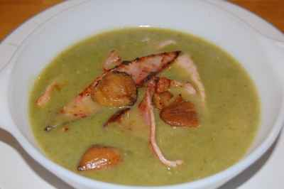 recette - velouté de laitue aux marrons et jambon