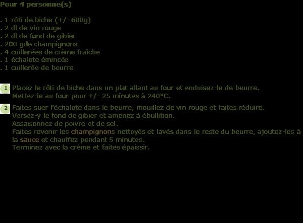 Recette biche sauce chasseur facile et rapide - Cuisiner un roti de biche ...