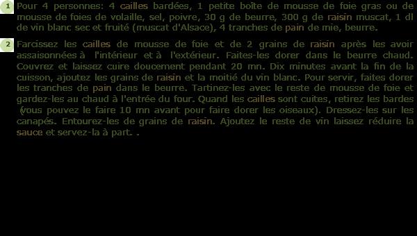 Recette cailles aux raisins sur canap s facile et rapide for Cailles sur canape