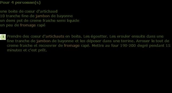 recette coeur d 39 artichauts au jambon de bayonne facile et rapide. Black Bedroom Furniture Sets. Home Design Ideas