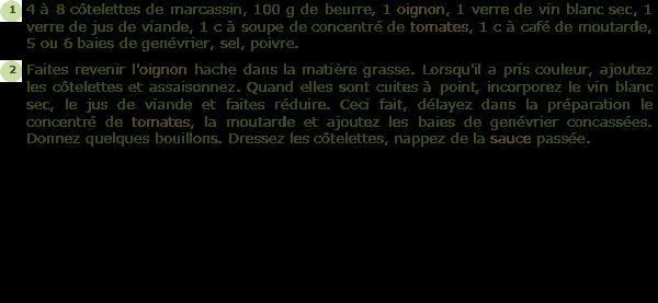 Recette c tes de marcassin l 39 ardennaise facile et rapide - Cuisiner du marcassin ...