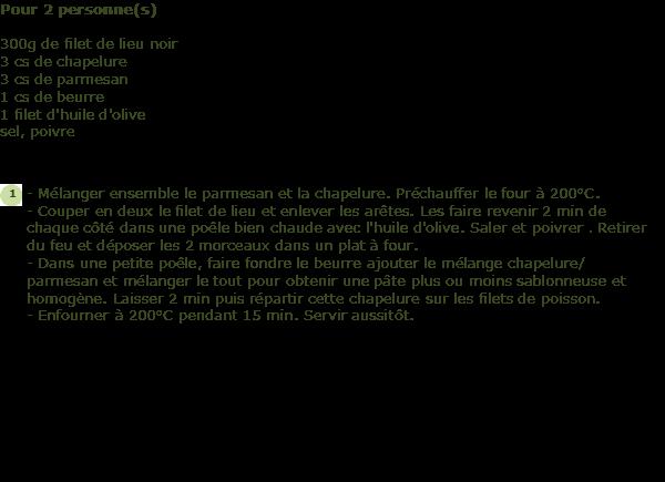 Recette filet de lieu noir en cro te de parmesan facile - Cuisiner filet de lieu noir ...