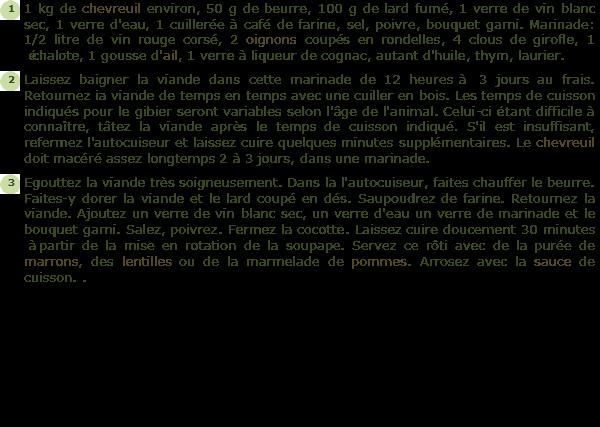 Recette filet ou cuissot chevreuil braise facile et rapide - Cuisiner un cuissot de chevreuil ...