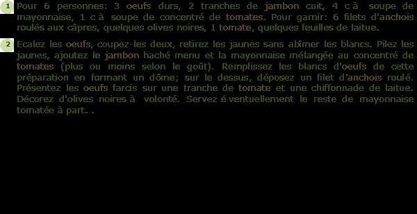 Oeufs Farcis au Jambon Recette Oeufs Farcis au Jambon