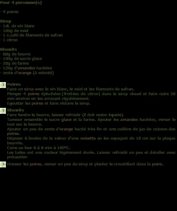 recette poire au vin blanc et son croustillant l 39 orange facile et rapide. Black Bedroom Furniture Sets. Home Design Ideas