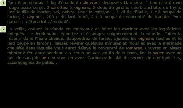 Recette r gout de chevreuil facile et rapide - Cuisiner epaule de chevreuil ...